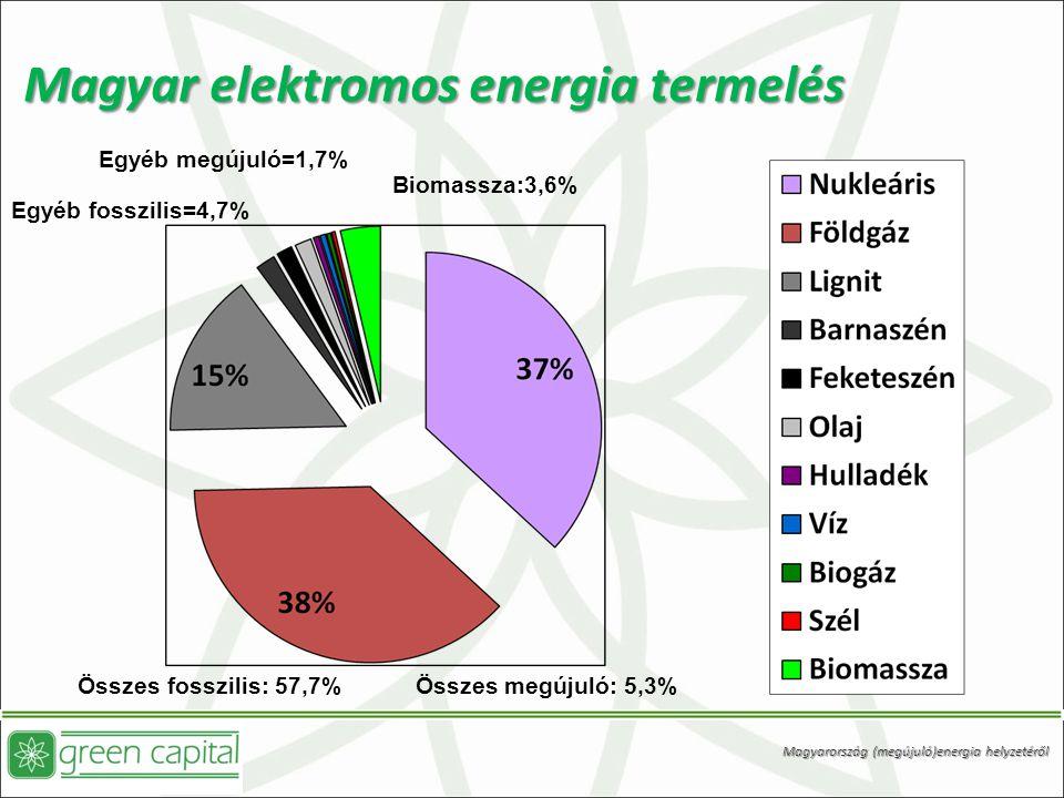 Magyar elektromos energia termelés Egyéb megújuló=1,7% Biomassza:3,6% Egyéb fosszilis=4,7% Összes fosszilis: 57,7% Összes megújuló: 5,3% Magyarország (megújuló)energia helyzetéről