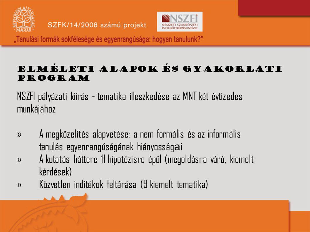 Elméleti alapok és gyakorlati program NSZFI pályázati kiírás - tematika illeszkedése az MNT két évtizedes munkájához »A megközelítés alapvetése: a nem