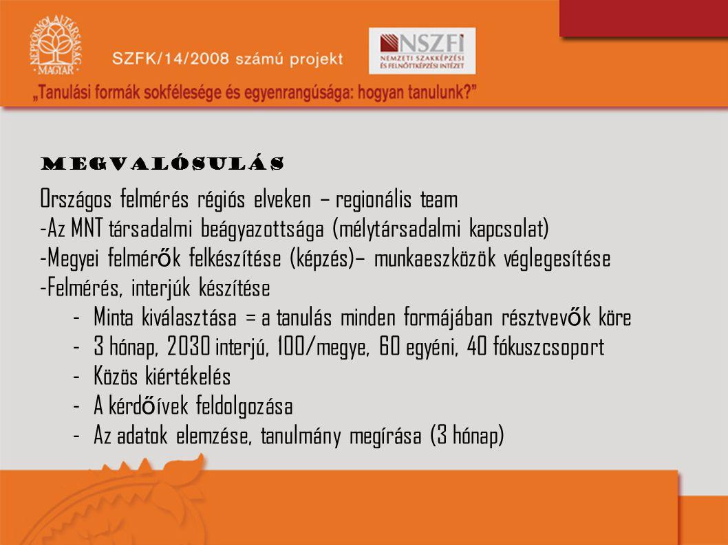 megvalósulás Országos felmérés régiós elveken – regionális team -Az MNT társadalmi beágyazottsága (mélytársadalmi kapcsolat) -Megyei felmér ő k felkés