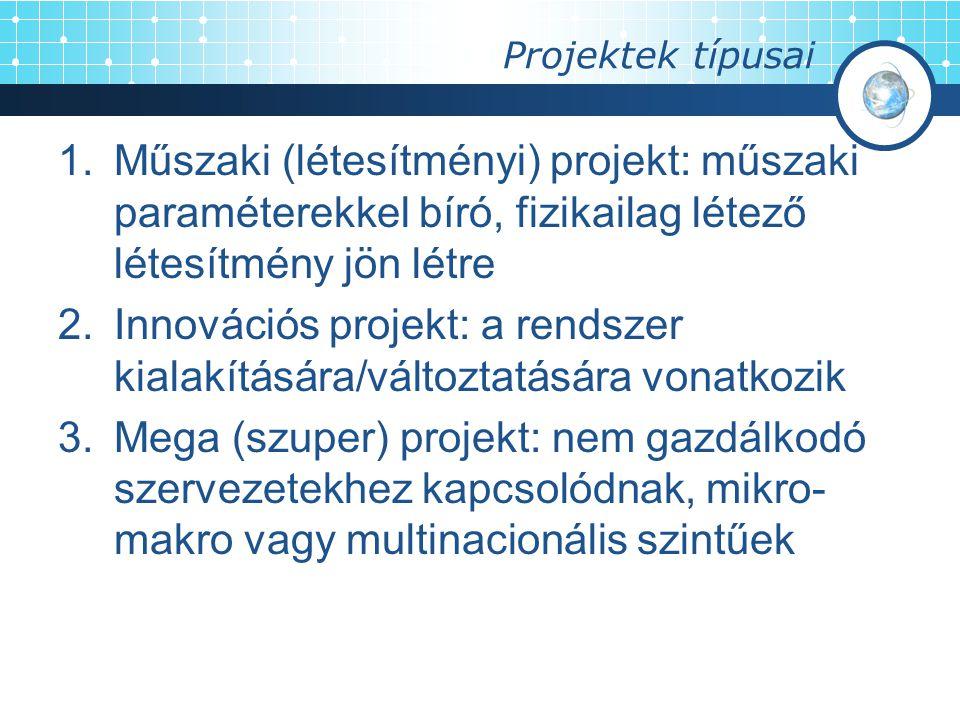 Projektek típusai 1.Műszaki (létesítményi) projekt: műszaki paraméterekkel bíró, fizikailag létező létesítmény jön létre 2.Innovációs projekt: a rends