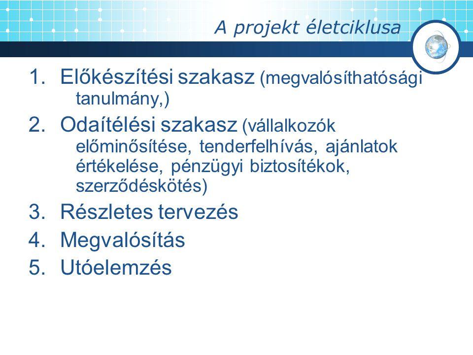 A projekt életciklusa 1.Előkészítési szakasz (megvalósíthatósági tanulmány,) 2.Odaítélési szakasz (vállalkozók előminősítése, tenderfelhívás, ajánlato