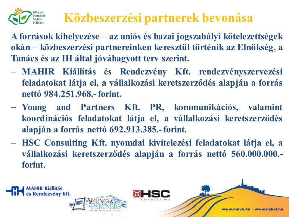 Közbeszerzési partnerek bevonása A források kihelyezése – az uniós és hazai jogszabályi kötelezettségek okán – közbeszerzési partnereinken keresztül történik az Elnökség, a Tanács és az IH által jóváhagyott terv szerint.