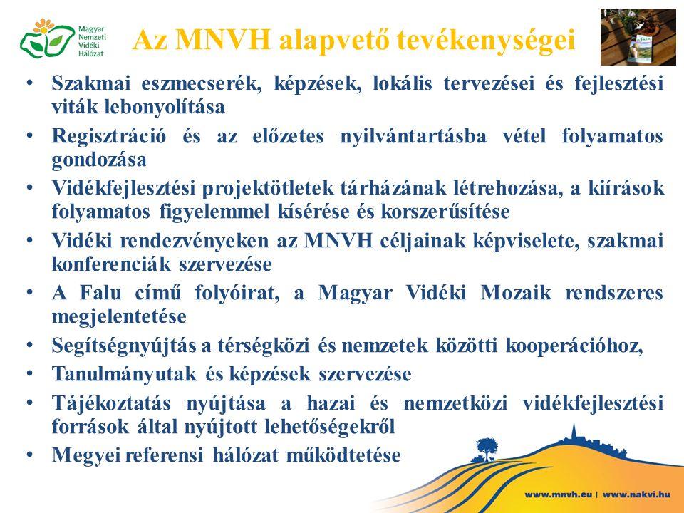 Az MNVH alapvető tevékenységei Szakmai eszmecserék, képzések, lokális tervezései és fejlesztési viták lebonyolítása Regisztráció és az előzetes nyilvántartásba vétel folyamatos gondozása Vidékfejlesztési projektötletek tárházának létrehozása, a kiírások folyamatos figyelemmel kísérése és korszerűsítése Vidéki rendezvényeken az MNVH céljainak képviselete, szakmai konferenciák szervezése A Falu című folyóirat, a Magyar Vidéki Mozaik rendszeres megjelentetése Segítségnyújtás a térségközi és nemzetek közötti kooperációhoz, Tanulmányutak és képzések szervezése Tájékoztatás nyújtása a hazai és nemzetközi vidékfejlesztési források által nyújtott lehetőségekről Megyei referensi hálózat működtetése
