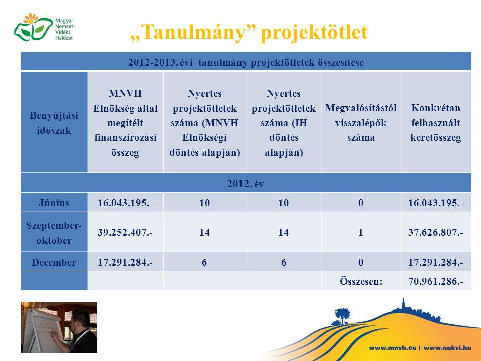 2012-2013. évi tanulmány projektötletek összesítése Benyújtási időszak MNVH Elnökség által megítélt finanszírozási összeg Nyertes projektötletek száma