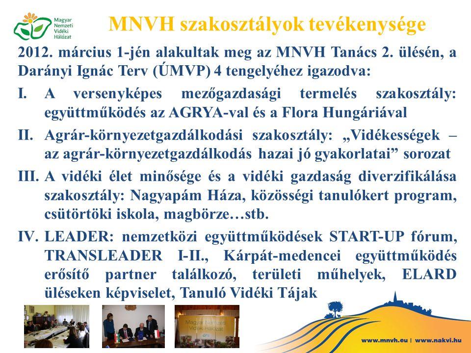MNVH szakosztályok tevékenysége 2012. március 1-jén alakultak meg az MNVH Tanács 2. ülésén, a Darányi Ignác Terv (ÚMVP) 4 tengelyéhez igazodva: I.A ve