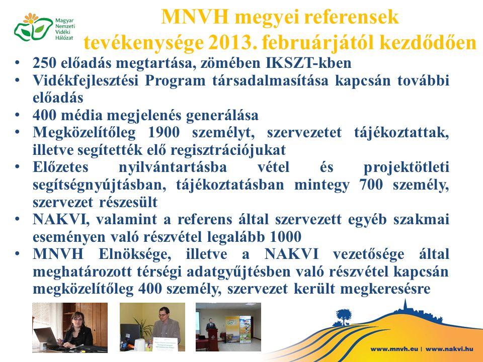 MNVH megyei referensek tevékenysége 2013. februárjától kezdődően 250 előadás megtartása, zömében IKSZT-kben Vidékfejlesztési Program társadalmasítása