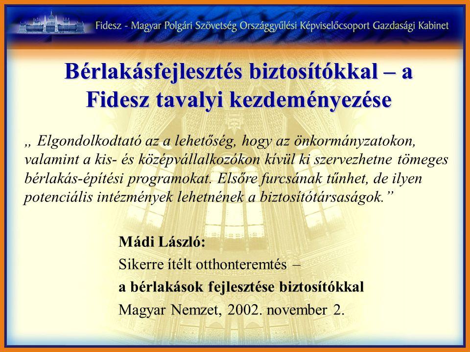 """Bérlakásfejlesztés biztosítókkal – a Fidesz tavalyi kezdeményezése """" Elgondolkodtató az a lehetőség, hogy az önkormányzatokon, valamint a kis- és közé"""