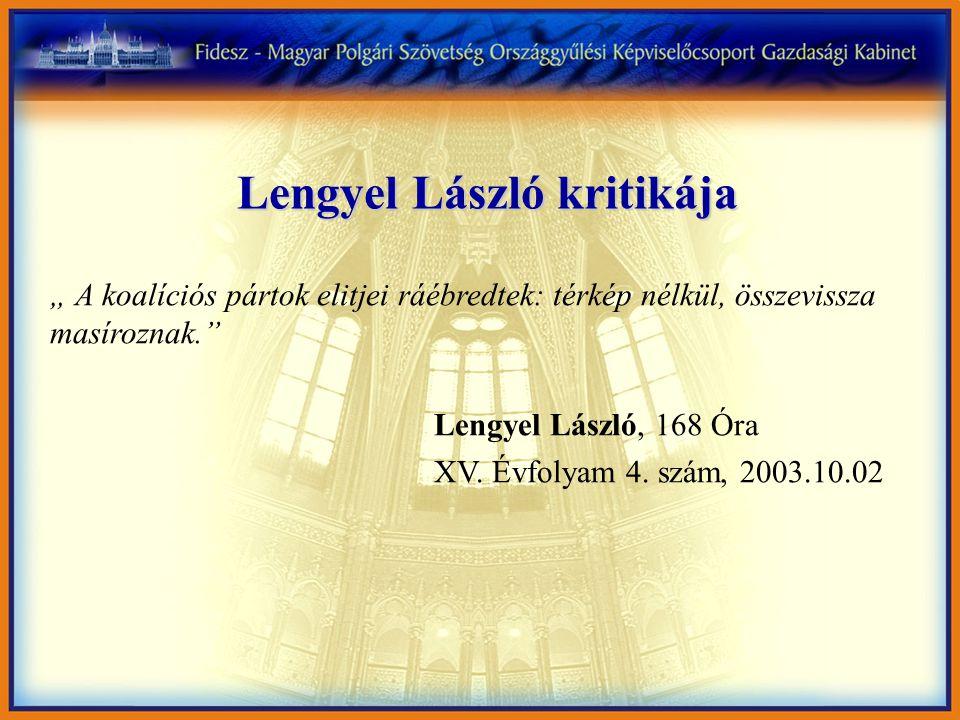"""Lengyel László kritikája """" A koalíciós pártok elitjei ráébredtek: térkép nélkül, összevissza masíroznak. Lengyel László, 168 Óra XV."""