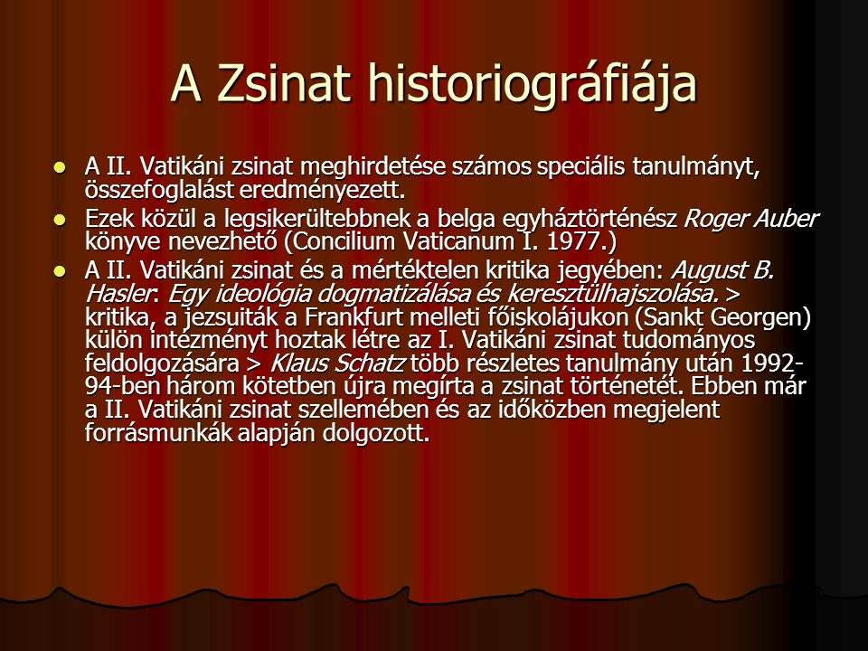 A Zsinat historiográfiája A II.