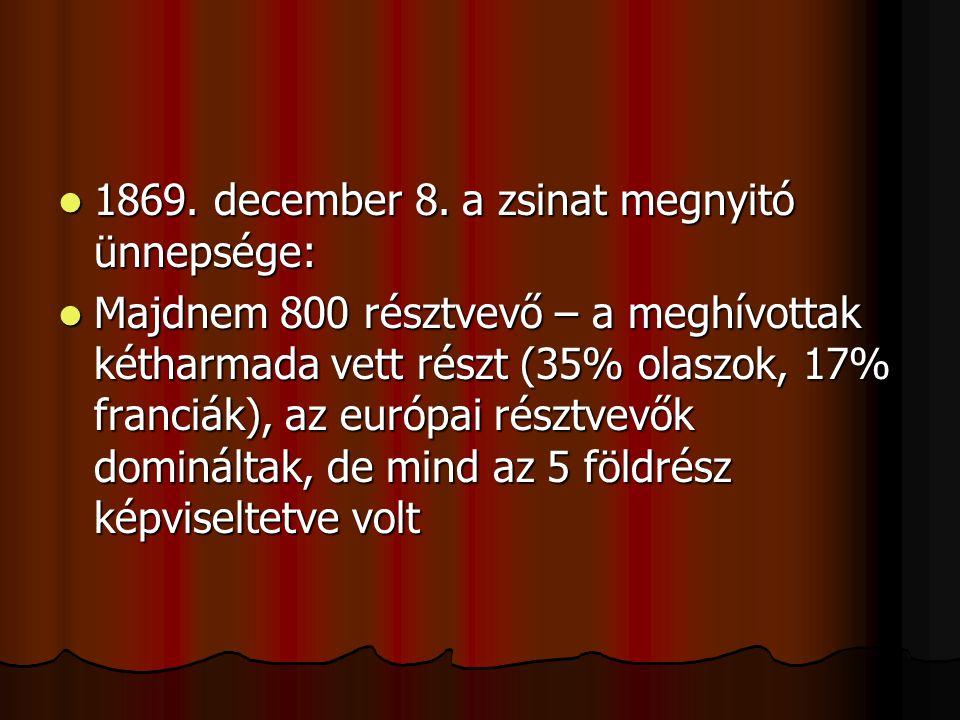1869. december 8. a zsinat megnyitó ünnepsége: 1869.