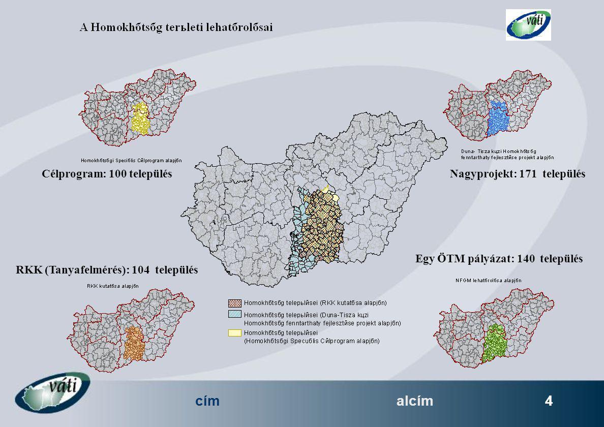 címalcím 4 Célprogram: 100 településNagyprojekt: 171 település RKK (Tanyafelmérés): 104 település Egy ÖTM pályázat: 140 település
