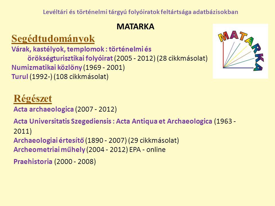 MATARKA Segédtudományok Várak, kastélyok, templomok : történelmi és örökségturisztikai folyóirat (2005 - 2012) (28 cikkmásolat) Numizmatikai közlöny (