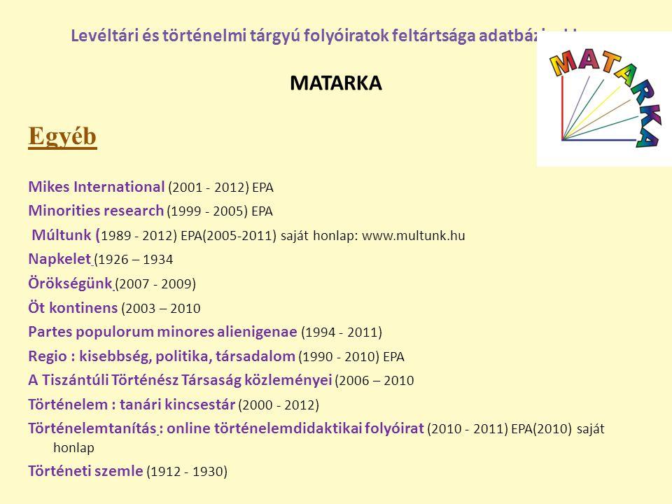 Egyéb Mikes International (2001 - 2012) EPA Minorities research (1999 - 2005) EPA Múltunk ( 1989 - 2012) EPA(2005-2011) saját honlap: www.multunk.hu N