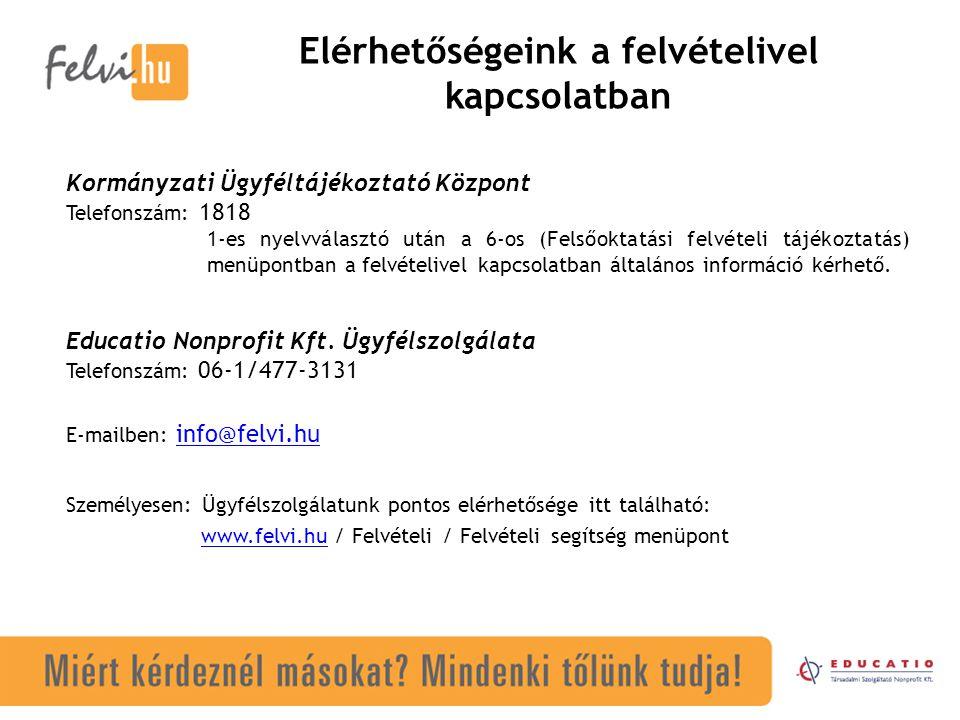 Elérhetőségeink a felvételivel kapcsolatban Személyesen: Ügyfélszolgálatunk pontos elérhetősége itt található: www.felvi.hu / Felvételi / Felvételi se