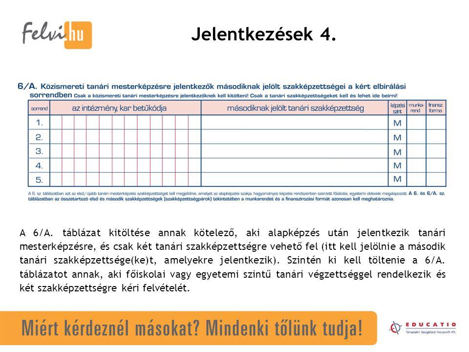 Jelentkezések 4. A 6/A. táblázat kitöltése annak kötelező, aki alapképzés után jelentkezik tanári mesterképzésre, és csak két tanári szakképzettségre