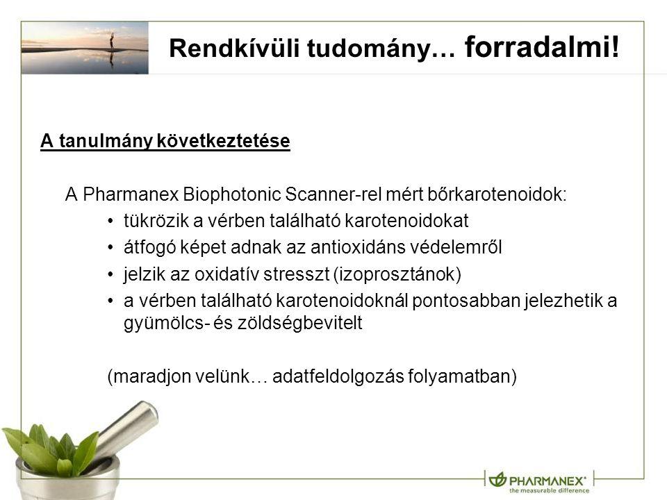 A tanulmány következtetése A Pharmanex Biophotonic Scanner-rel mért bőrkarotenoidok: tükrözik a vérben található karotenoidokat átfogó képet adnak az