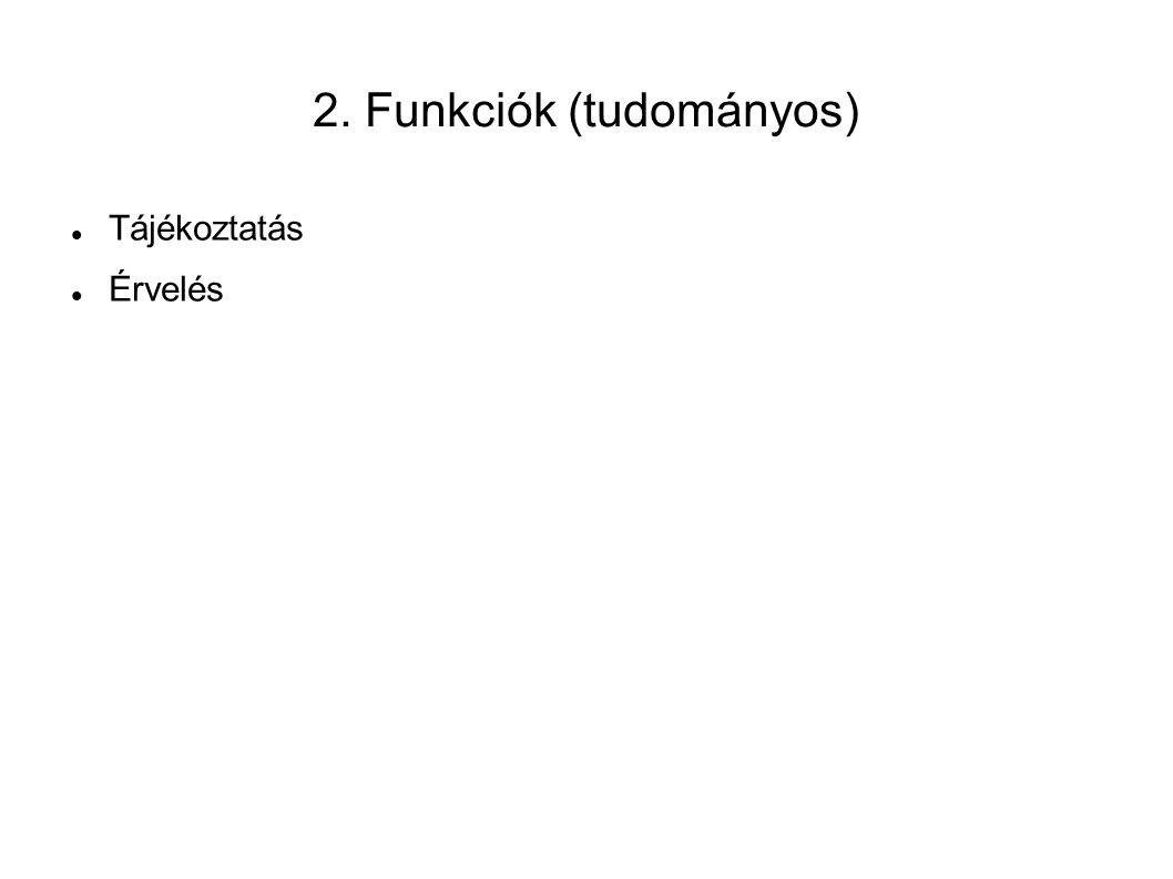 2. Funkciók (tudományos) Tájékoztatás Érvelés