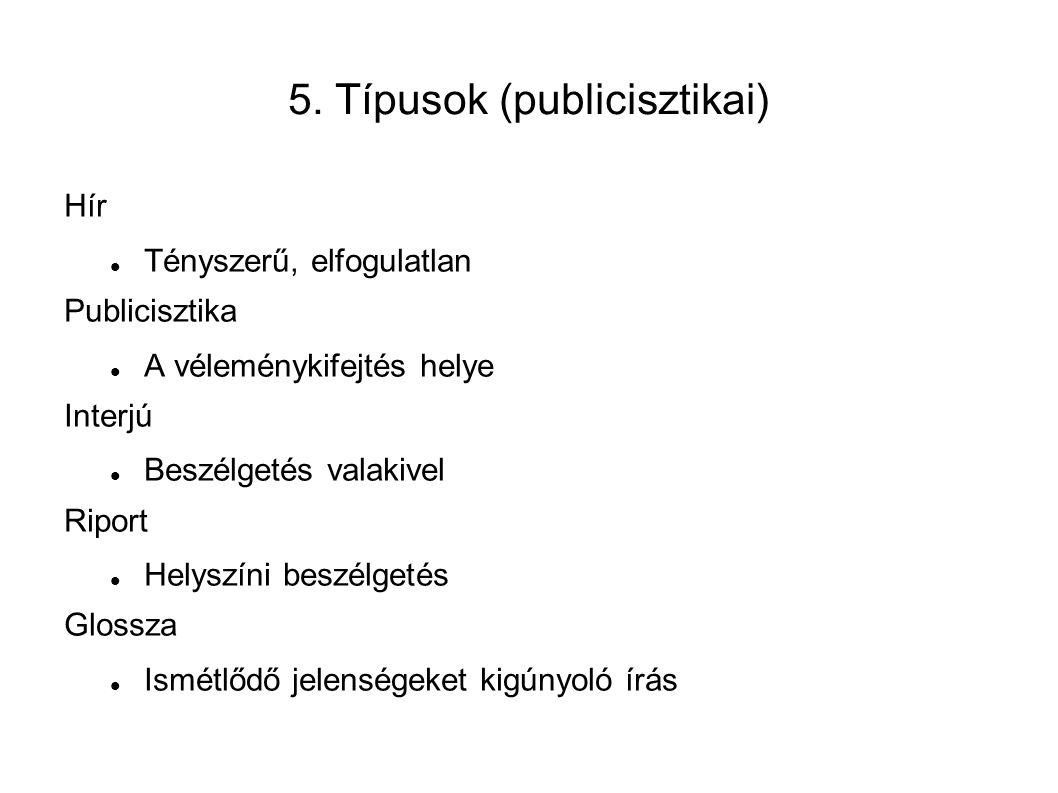 5. Típusok (publicisztikai) Hír Tényszerű, elfogulatlan Publicisztika A véleménykifejtés helye Interjú Beszélgetés valakivel Riport Helyszíni beszélge