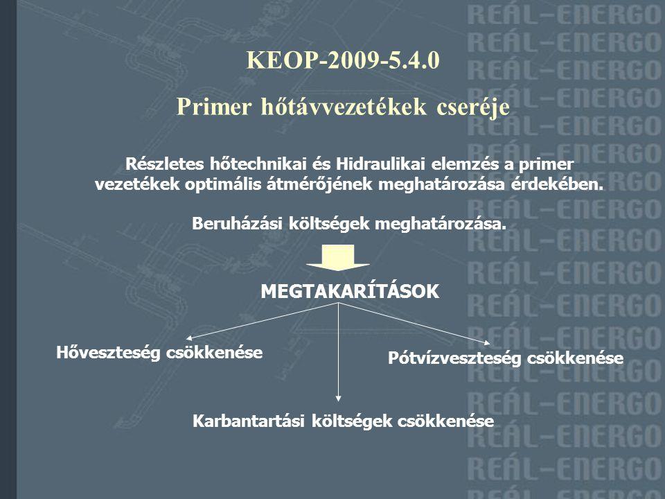 KEOP-2009-5.4.0 Primer hőtávvezetékek cseréje Részletes hőtechnikai és Hidraulikai elemzés a primer vezetékek optimális átmérőjének meghatározása érdekében.