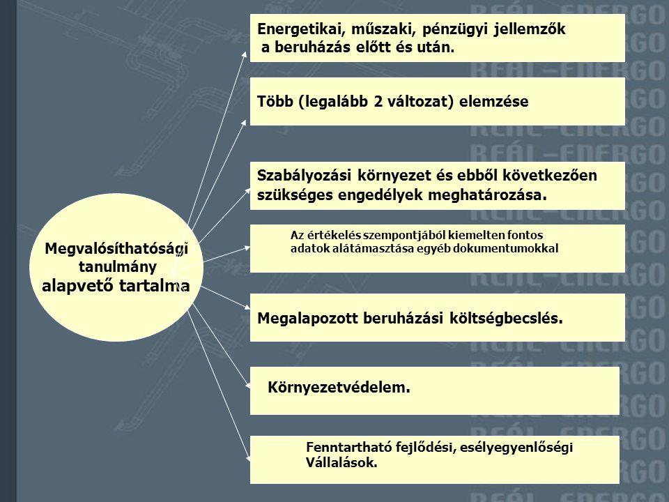 Megvalósíthatósági tanulmány alapvető tartalma Energetikai, műszaki, pénzügyi jellemzők a beruházás előtt és után.