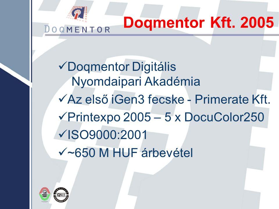 Doqmentor Kft. 2005 Doqmentor Digitális Nyomdaipari Akadémia Az első iGen3 fecske - Primerate Kft. Printexpo 2005 – 5 x DocuColor250 ISO9000:2001 ~650