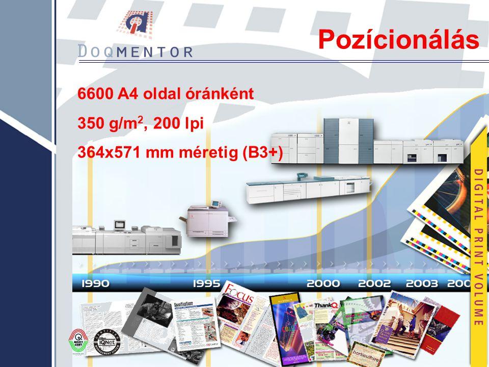 Pozícionálás 6600 A4 oldal óránként 350 g/m 2, 200 lpi 364x571 mm méretig (B3+)