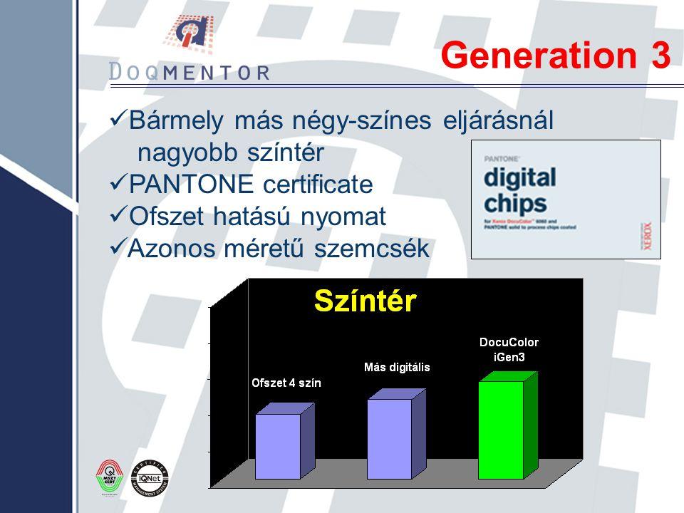 Generation 3 Bármely más négy-színes eljárásnál nagyobb színtér PANTONE certificate Ofszet hatású nyomat Azonos méretű szemcsék