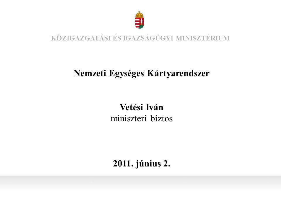 Nemzeti Egységes Kártyarendszer Vetési Iván miniszteri biztos 2011.