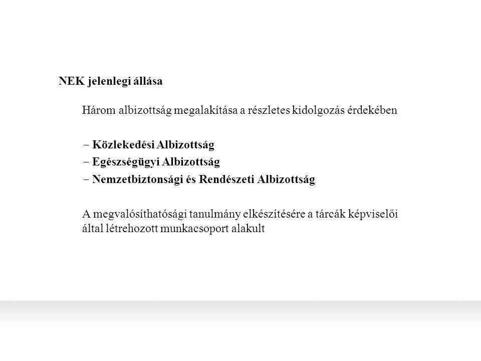 NEK jelenlegi állása Három albizottság megalakítása a részletes kidolgozás érdekében  Közlekedési Albizottság  Egészségügyi Albizottság  Nemzetbiztonsági és Rendészeti Albizottság A megvalósíthatósági tanulmány elkészítésére a tárcák képviselői által létrehozott munkacsoport alakult