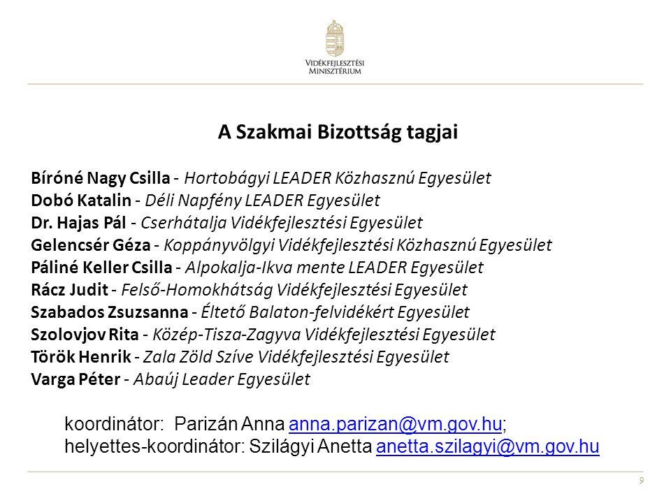9 A Szakmai Bizottság tagjai Bíróné Nagy Csilla - Hortobágyi LEADER Közhasznú Egyesület Dobó Katalin - Déli Napfény LEADER Egyesület Dr.