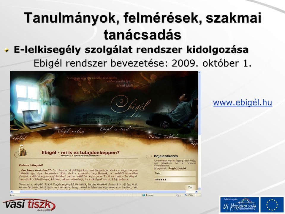 Tanulmányok, felmérések, szakmai tanácsadás E-lelkisegély szolgálat rendszer kidolgozása Ebigél rendszer bevezetése: 2009.