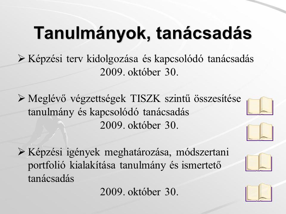 Tanulmányok, tanácsadás   Képzési terv kidolgozása és kapcsolódó tanácsadás 2009.