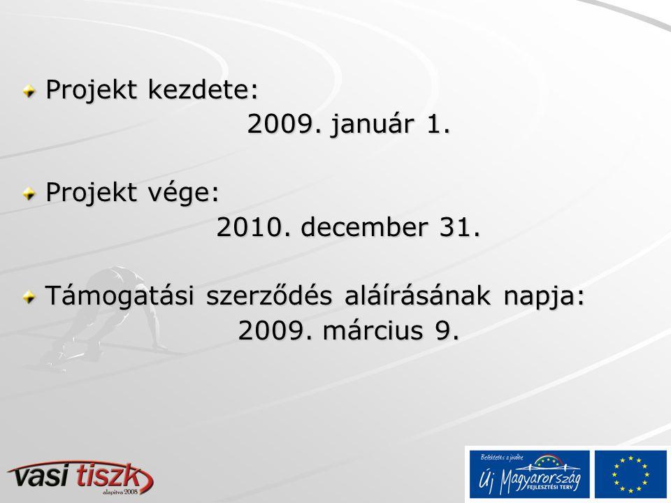 Projekt kezdete: 2009. január 1. Projekt vége: 2010.