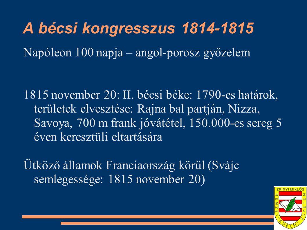 A bécsi kongresszus 1814-1815 Napóleon 100 napja – angol-porosz győzelem 1815 november 20: II.