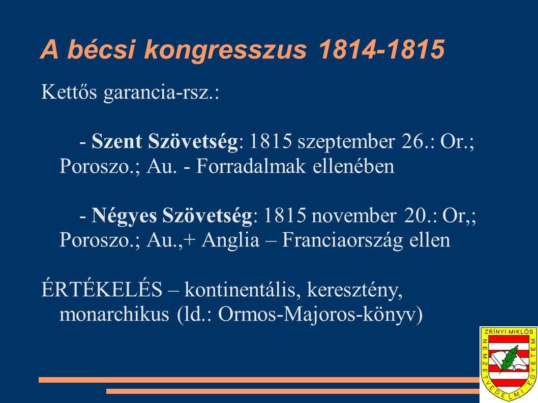 A bécsi kongresszus 1814-1815 Kettős garancia-rsz.: - Szent Szövetség: 1815 szeptember 26.: Or.; Poroszo.; Au.