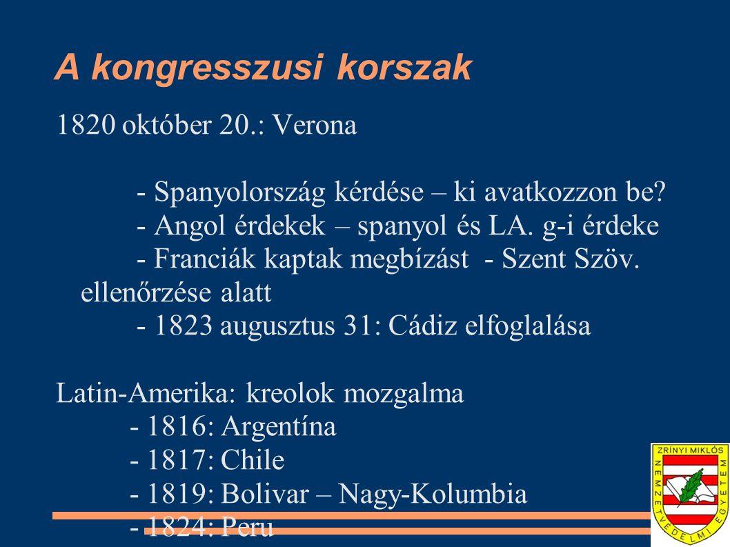 A kongresszusi korszak 1820 október 20.: Verona - Spanyolország kérdése – ki avatkozzon be.