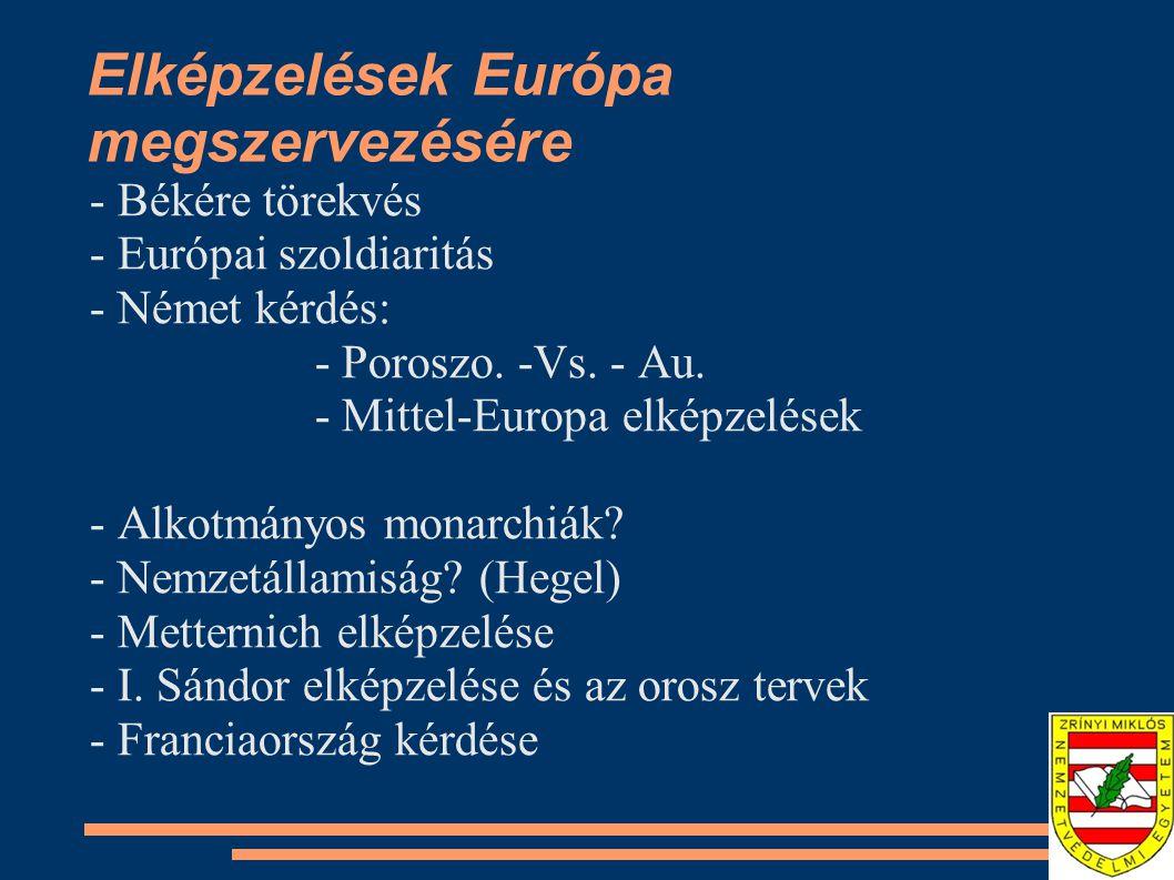 Elképzelések Európa megszervezésére - Békére törekvés - Európai szoldiaritás - Német kérdés: - Poroszo.
