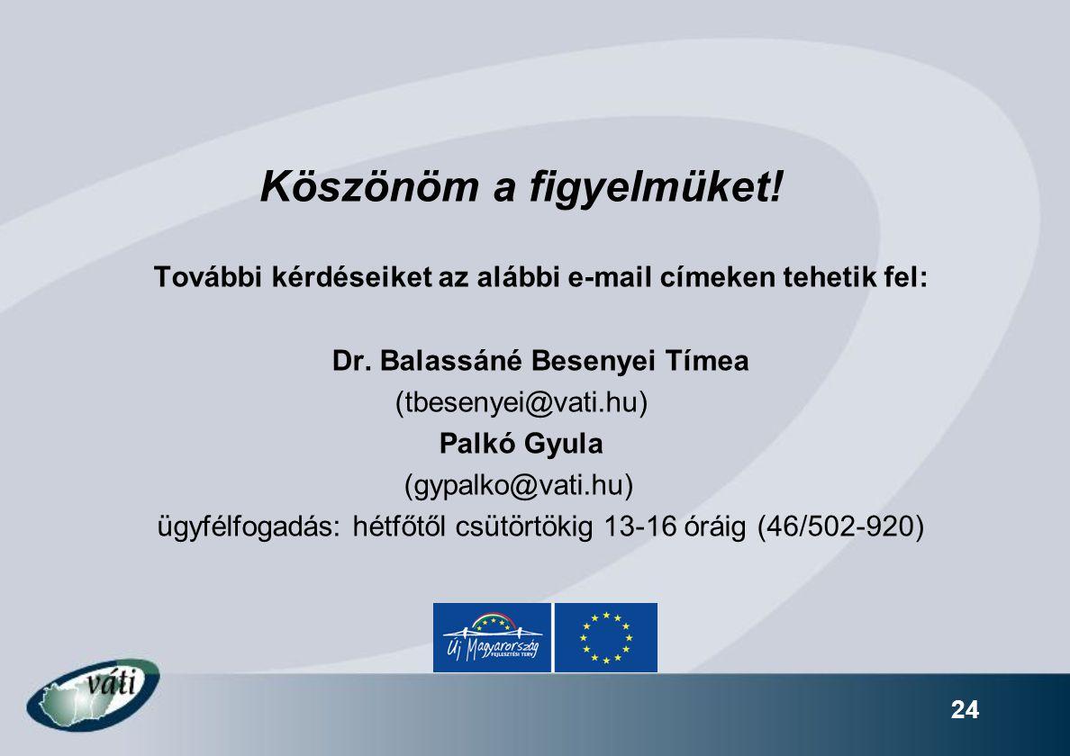 24 Köszönöm a figyelmüket! További kérdéseiket az alábbi e-mail címeken tehetik fel: Dr. Balassáné Besenyei Tímea (tbesenyei@vati.hu) Palkó Gyula (gyp