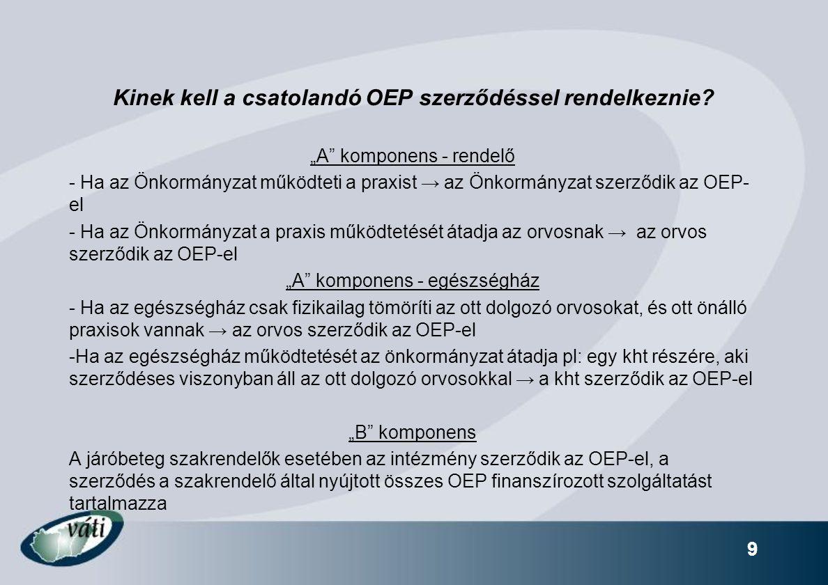 """9 Kinek kell a csatolandó OEP szerződéssel rendelkeznie? """"A"""" komponens - rendelő - Ha az Önkormányzat működteti a praxist → az Önkormányzat szerződik"""
