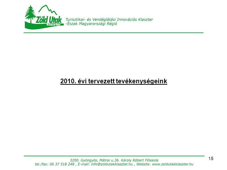 15 2010. évi tervezett tevékenységeink