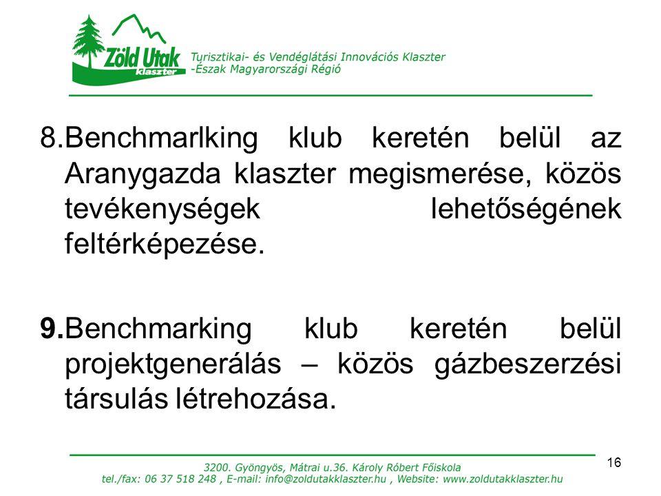16 8.Benchmarlking klub keretén belül az Aranygazda klaszter megismerése, közös tevékenységek lehetőségének feltérképezése. 9.Benchmarking klub kereté