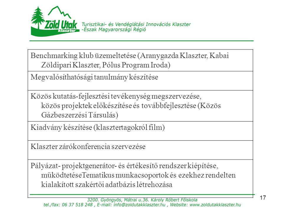 17 Benchmarking klub üzemeltetése (Aranygazda Klaszter, Kabai Zöldipari Klaszter, Pólus Program Iroda) Megvalósíthatósági tanulmány készítése Közös ku