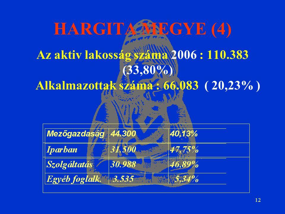 12 HARGITA MEGYE (4) Az aktiv lakosság száma 2006 : 110.383 (33,80%) Alkalmazottak száma : 66.083 ( 20,23% )