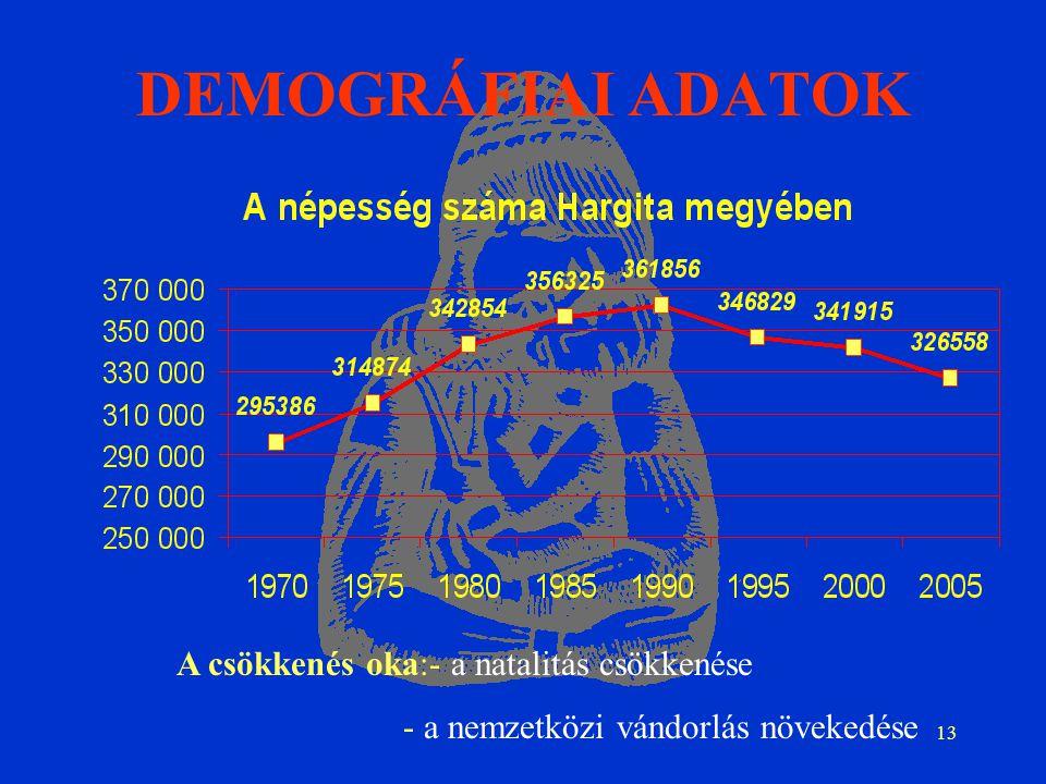 13 DEMOGRÁFIAI ADATOK A csökkenés oka:- a natalitás csökkenése - a nemzetközi vándorlás növekedése