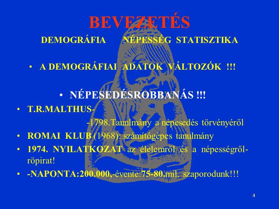 4 BEVEZETÉS DEMOGRÁFIA NÉPESSÉG STATISZTIKA A DEMOGRÁFIAI ADATOK VÁLTOZÓK !!.