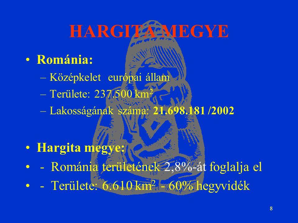 8 HARGITA MEGYE Románia: –Középkelet európai állam –Területe: 237.500 km 2 –Lakosságának száma: 21.698.181 /2002 Hargita megye: - Románia területének 2,8%-át foglalja el - Területe: 6.610 km 2 - 60% hegyvidék