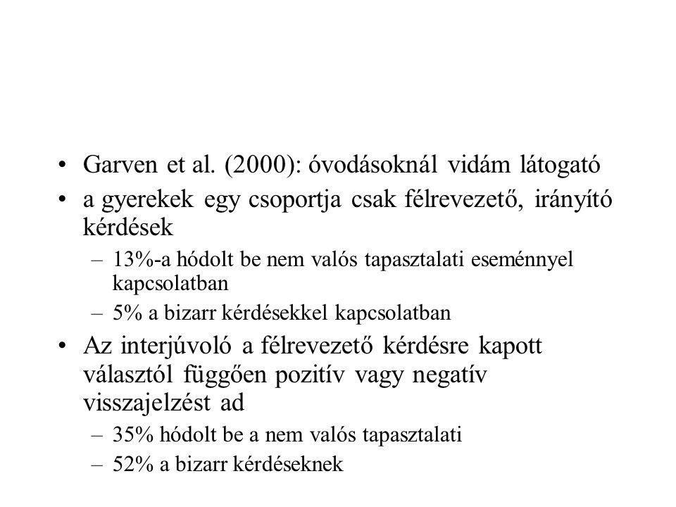 Garven et al. (2000): óvodásoknál vidám látogató a gyerekek egy csoportja csak félrevezető, irányító kérdések –13%-a hódolt be nem valós tapasztalati