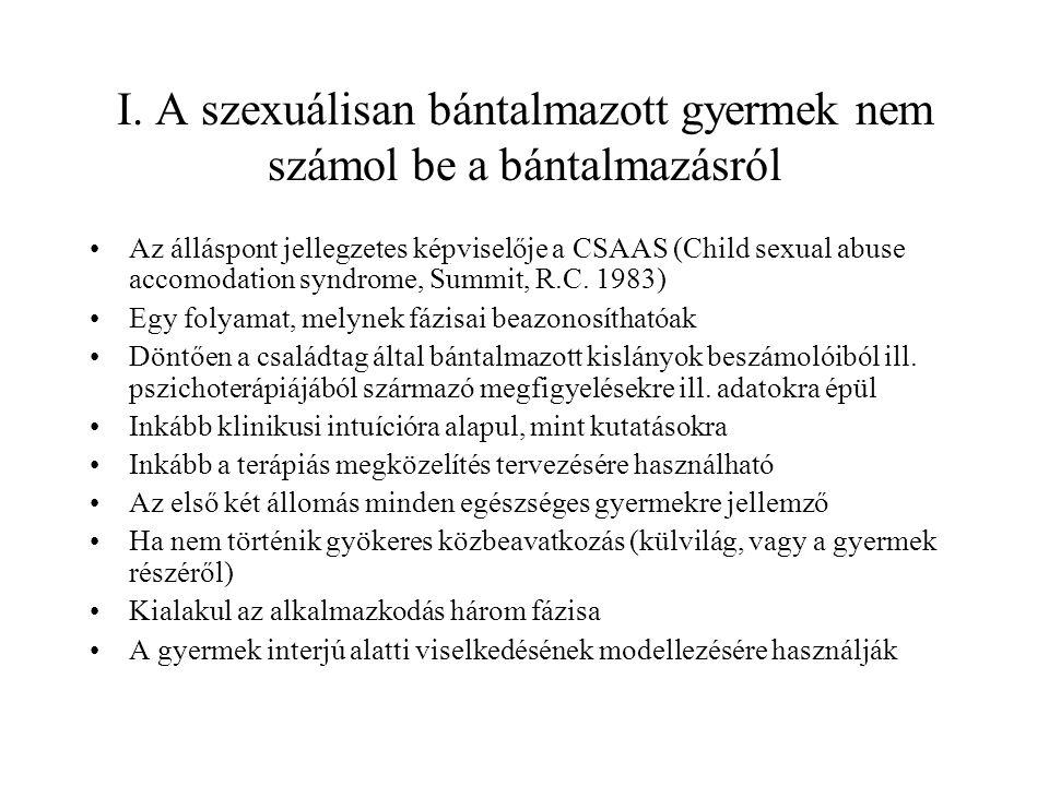 I. A szexuálisan bántalmazott gyermek nem számol be a bántalmazásról Az álláspont jellegzetes képviselője a CSAAS (Child sexual abuse accomodation syn