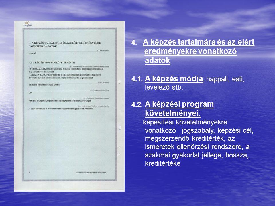 4. A képzés tartalmára és az elért eredményekre vonatkozó adatok 4.1. A képzés módja : nappali, esti, levelező stb. 4.2. A képzési program követelmény