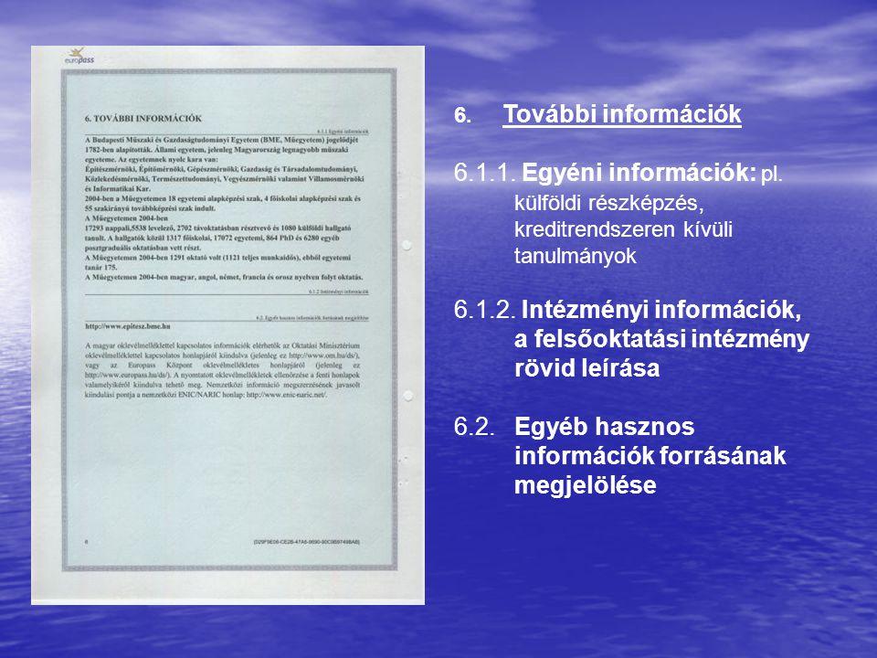 6. További információk 6.1.1. Egyéni információk: pl. külföldi részképzés, kreditrendszeren kívüli tanulmányok 6.1.2. Intézményi információk, a felsőo